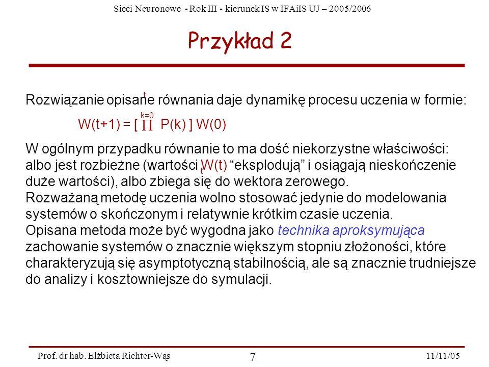 Przykład 2 Rozwiązanie opisane równania daje dynamikę procesu uczenia w formie: W(t+1) = [  P(k) ] W(0)